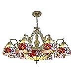 AYEN Lampadari Lampadario in Stile mediterraneo Tiffany Vintage a Quattro Colori con Fiori Colorati per Sala da Pranzo Cucina a 3 Teste a 3 Teste Soffitto Lampadario-8 Heads