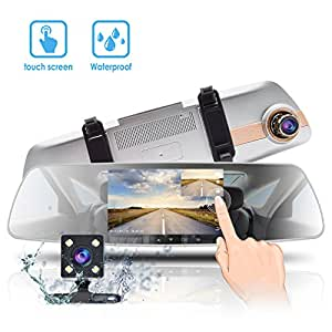 Mirror Dash Cam 5'' IPS Touch Screen,1080P Dual Lens Dash Cam 170° Wide Angle Front Car Camera and Rear Waterproof Backup Camera with G-Sensor Parking Monitor Motion Detection WDR Night Vision