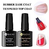 UV Nagellack Top Coat & Base Coat Unterlack Überlack Set Gel Gummi Base Coat +Temperiert Top Coat UV LED Versiegelt die Maniküre