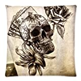 Custom Queen Size Bed Pillowcase DIY Fashion classic POP Skull tattoo art with flowers Pillowcases Pillowslips Roomy in Size 18