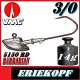 VMC jigkopfhaken Jigkopf Eriekopf 3/0 14g Jighaken VMC Barbarian 5150 RD 25Stück im Set