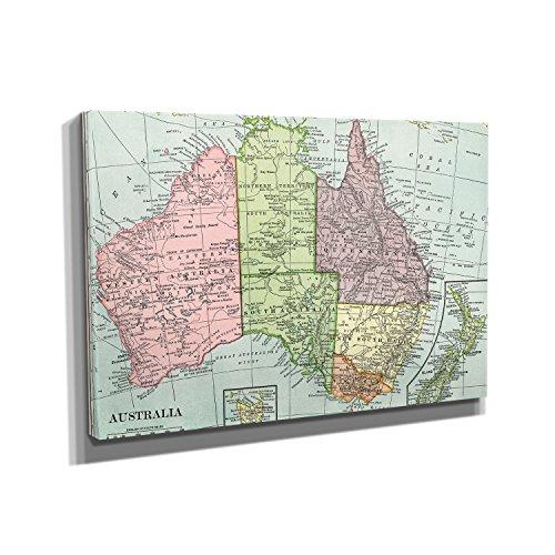Nerdinger Australien Karte - Kunstdruck auf Leinwand (60x40 cm) zum Verschönern Ihrer Wohnung. Verschiedene Formate auf Echtholzrahmen. Höchste Qualität.