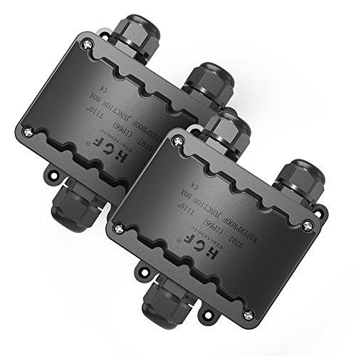 Abzweigdose,IP66 wasserdicht Kabelverbinder aussen, größere 3-Wege-Verbindungsdose Erdkabel Schwarz elektrischer Außenverteilerdose, M20 Kabelverschraubung 9mm-14mm (ABS + PVC) -