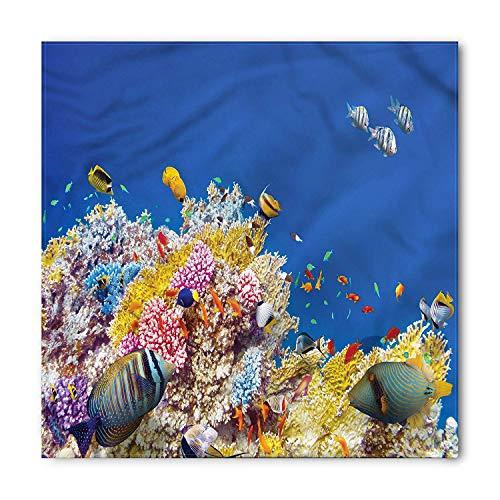 , Tropical Corals Fish, Unisex Bandana Head and Neck Tie Neckerchief Headdress Silk-Like 100% Polyester ()