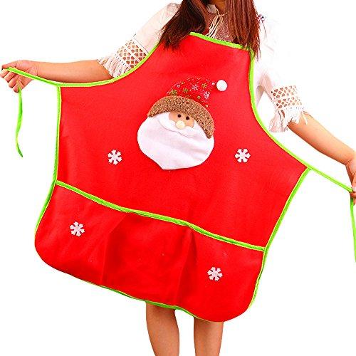 Hirolan Weihnachtsmann Schürze Lätzchen Schneemann Küchenlätzchen Schürzen Kostüm Schürze Komisch Weihnachtsmann Muster Dekoration Schürze Wrap (A)