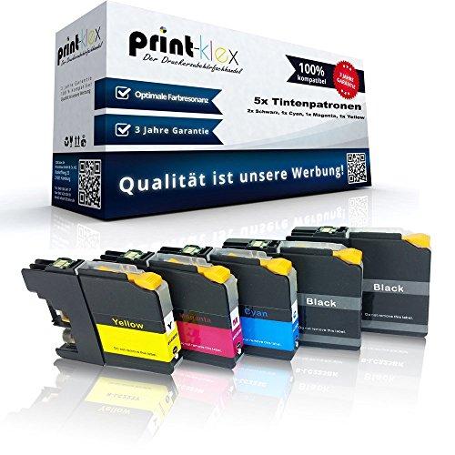 Preisvergleich Produktbild 5x kompatible Tintenpatronen für Brother LC121 LC123 MFC J245 MFC J4310 DW MFC J4410 DW MFC J4510 DW MFC J4610 DW MFC J4710 DW MFC J6520 DW MFC J6720 DW - Sparpack - Eco Office Serie