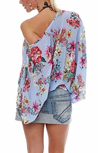malito Fledermaus-Bluse im Off Shoulder Look Flower Print Oversize 7213 Damen One Size Blau