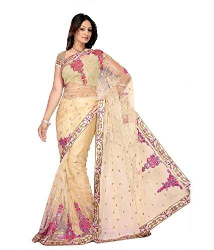 Yuvati Sarees Net Saree (9023_Beige)