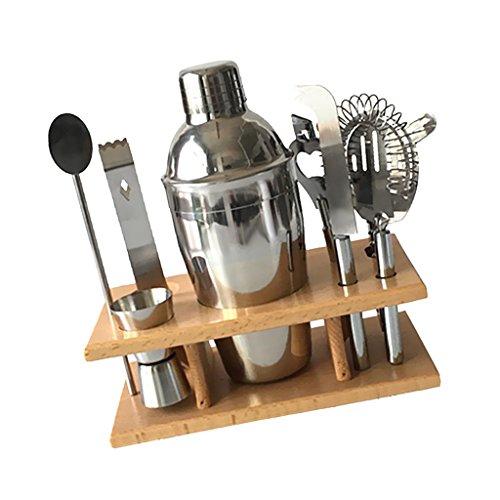 MagiDeal 8 Cocktail Shaker Mixer Werkzeuge Bar Jigger Sieb Flaschenöffner Stand Set - Silber, 550ml