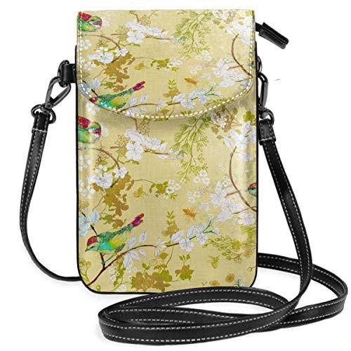Suminla-Home Kleine Handybörse Umhängetasche Handtasche mit abnehmbarem Riemen Vogel Bienen Buttergelb