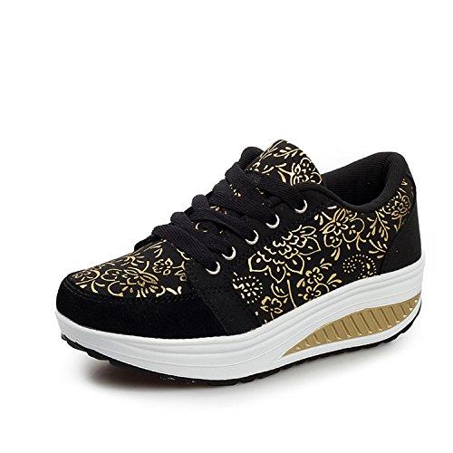 QZBAOSHU Mode Sneaker für Mädchen Frauen Fitness Laufen Sportschuhe Keil (39, Schwarz) (Frauen Kinder Schuhe)