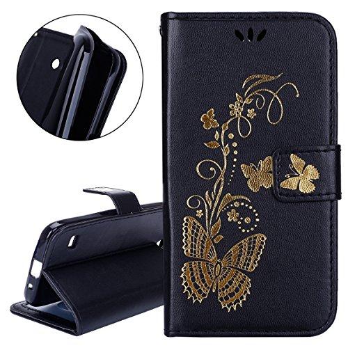 ISAKEN Hülle für Huawei Ascend Y550, PU Leder Brieftasche Geldbörse Wallet Case Handyhülle Tasche Schutzhülle Hülle Etui mit Handschlaufe Strap für Huawei Ascend Y550 - Gold Schmetterling Schwarz