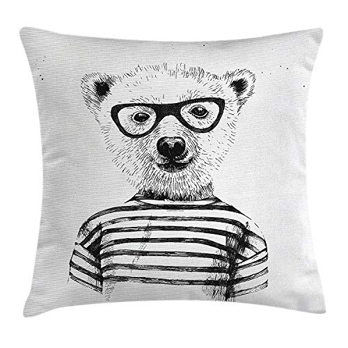 Cyan Smart Print (Yinorz Apartment Throw Pillow Cushion Cover, Dressed up Hipster Nerd Smart Bear in Glasses Fun Character Animal Artful Print, Decorative Square Accent Pillow Case, 18 X 18 inches, Black White)