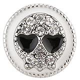 Morella® Damen Click - Button Druckknopf Totenkopf schwarz