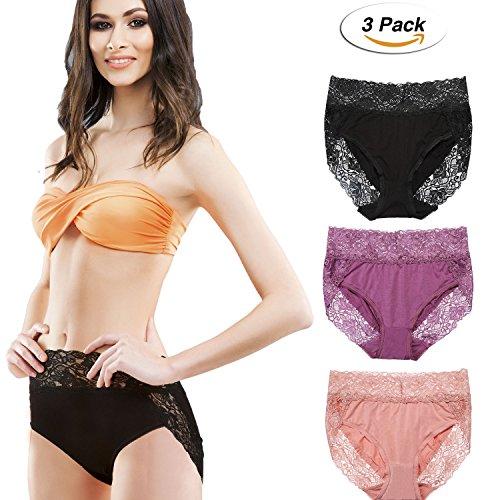 3 Packung Damen Hohe Taille Spitze Kurze Höschen Unterwäsche (M, Schwarz, Lila, Rosa) (Spitze Kurze Panty)
