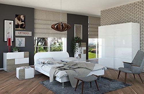 Camera da letto matrimoniale componibile completa bianco laccato lucido e color cemento