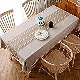 J-MOOSE Tovaglia in Cotone e Lino Anti-Macchia Tovaglia per Tavolo Rettangolare Decorazione Domestica della Cucina (140x240cm, Light Brown)