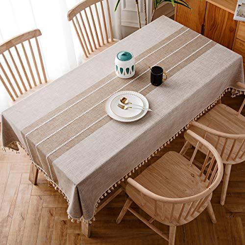 J-moose tovaglia in cotone e lino anti-macchia tovaglia per tavolo rettangolare decorazione domestica della cucina (140x180cm, light brown)