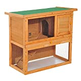 PawHut 2-Tier Double Decker Wooden Rabbit Hutch Pet Cage Run Guinea Pig Hutch with Sliding Tray Opening Top