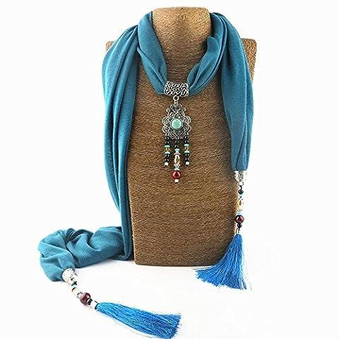 Yxzn Style ethnique Pendentif Collier Femme Écharpe, 8