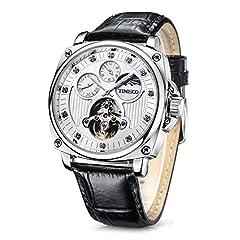Idea Regalo - Time100 Orologio uomo automatico pelle di vitello marrone cronografo, lucidato a mano, lancette luminescenti#W60045G (Argento)