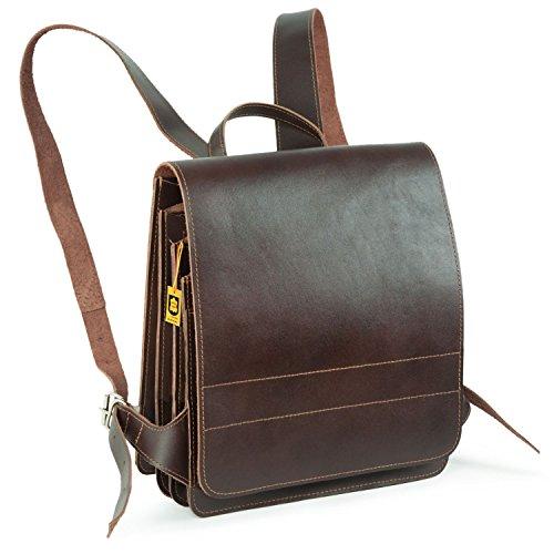 Mittel-Großer Lederrucksack / Lehrerrucksack Größe M aus Leder, für Damen und Herren, Braun, Jahn-Tasche - Lehrer-notebook-rucksack