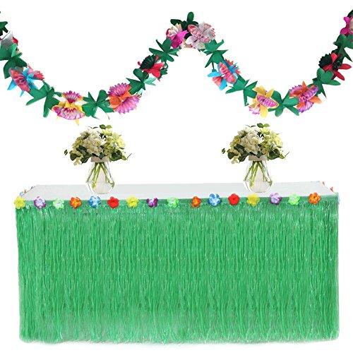 gereton hawaiianischen Stil Party Deko Gras Rock Tisch Rock mit 3Meter GIRLANDE und Haken und Loop, grün