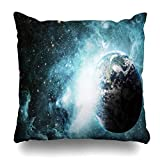 Monicago Zierkissenbezüge, Throw Pillow Covers, View Red Outer Earth Space This Furnished Fiction Science Technology Galaxy Planet World Black Home Decor Pillowcase Square Size 18