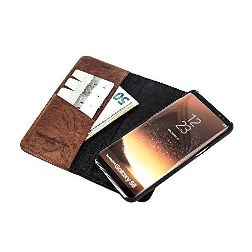 """QIOTTI >            APPLE iPHONE 6 / 6S / 7 (4,7"""")            < incl. PANZERGLAS H9 HD+, RFID Schutz, 2-in-1 Booklet mit herausnehmbare Schutzhülle, magnetisch, 360 Grad Aufstellmöglichkeit, Wallet Case Hülle Tasche handge COGNAC BRAUN"""