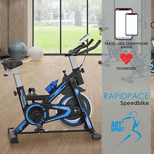 ArtSport Speedbike RapidPace - Ergometer Fahrrad Pulsmesser LCD Display - 10 kg Schwungmasse - bis 120 kg - Heimtrainer Fitness Indoor Cycling Bike