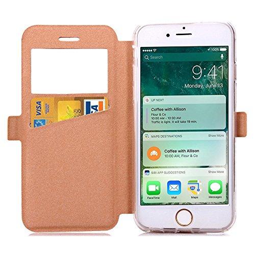 Wkae Case Cover iPhone Cover Case 7, en cuir PU Fenêtre Case Grille Lattice Motif flip stand Case Cover avec emplacement de carte pour Appple iPhone7 by DIEBELLEU ( Color : Red , Size : Iphone 7 ) Gold
