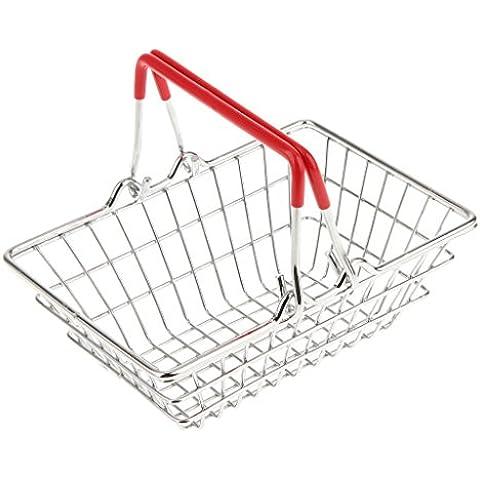 Cesta de Estilo Mini de Cromo Fichas de Presentación de La Comida de Compras - plata,rojo