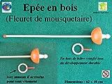 Epée de mousquetaire - fleuret en bois rouge, solide et durable, artisanat Français.