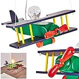 Pendelleuchte Gavle, bunte Hängelampe aus Holz für das Kinderzimmer, 1 x E27 max. 42 Watt, Flugzeug Hängeleuchte mehrfarbig, auch geeignet für LED Leuchtmittel