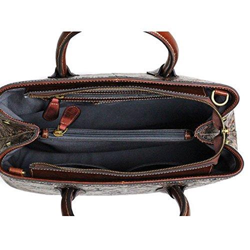 Leathario Borsa di Vera Pelle da Donna Mano Spalla Classico Vintage Estate Elegante Dipinta Lussuosa marrone rossiccio