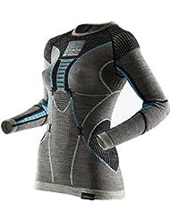 X-Bionic, maglia sportiva Apani Merino da donna, prodotta da X-Bionic X Lady Uw Shirt Lg_sl Maglia a girocollo, Donna, APANI MERINO BY X-BIONIC LADY UW SHIRT LG_SL. ROUNDNECK, Black/Grey/Turquoise, XS, S/M, L/XL