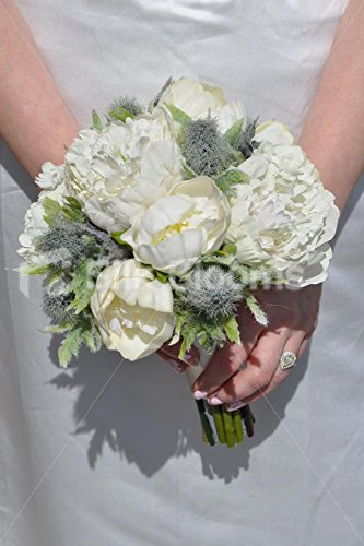 Elfenbein Pfingstrose und grau Sea Holly Distel Bridesmaid Wedding Bouquet (Rustikale Bouquet)