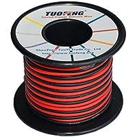 TUOFENG Cable de calibre 18, 20 m Cable de conexión con aislamiento de silicona súper flexible 10 m Negro y 10 m Rojo 2 cables separados Alambre de cobre estañado Resistencia a alta temperatura para impresora 3D, vehículo