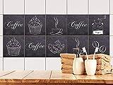 GRAZDesign 770530_15x15_FS20st Fliesenaufkleber für Küchen Fliesen Kaffee Coffee Motiv - alte Fliesen mit Fliesenfolie überkleben (15x15cm // Set 20 Stück)