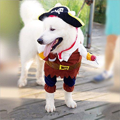 Hund Kleidung Pirat Sailor Captain Cartoon Pets Weihnachten Halloween Kostüm Outfit Katze Schal Fancy Kleid Apparel (Kostüme Für Halloween Hund)