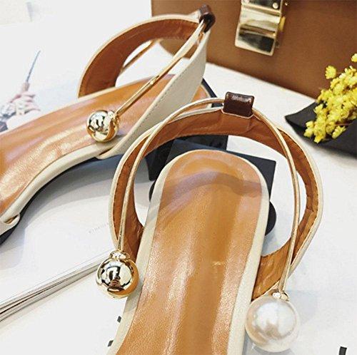 Offene Schuhe quadratisches Kopf Wort Schnalle Schuhe bequem Wild apricot