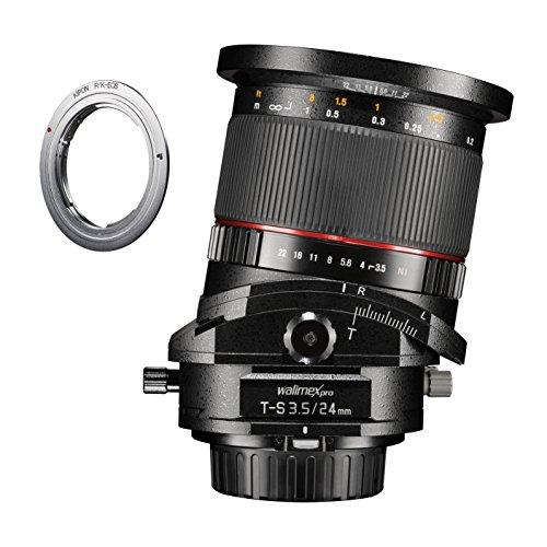 Walimex Pro 24 mm 1:3, 5 DSLR T-S tilt-shift objetivo para Pentax K con adaptador para Canon EF