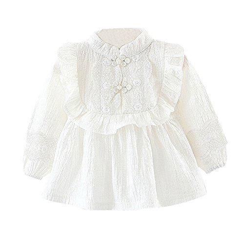 Cute Langarm Robe Bluse Kleid Prinzessin Spitze Kleider kleidung (Weiß, 6Monat) (Cute Christmas Kleid)