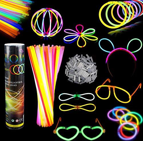 Imagen de barras luminosas, pack de 100 pulseras fluorescentes glow pack multicolor,simuer glow sticks varitas luminosas para fiestas 8