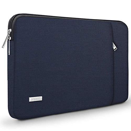 TECOOL Laptop Hülle Tasche Schutzhülle Sleeve mit Vordertasche für 2016-2019 MacBook Pro 15, 14 Zoll ASUS Lenovo Dell HP Acer Huawei Notebooks Ultrabooks, Dunkelblau