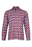 eterna Herren Langarmhemd Modern Fit Button Down Kragen Doppelgewebe Rot Blau Kariert, Grösse:W39 Langarm