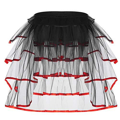 A0127 Womens Ballet Dance Tüll Schwanz Tutu Rock Kontrastfarbe Satin Trim Geschichteten Rüschen Kuchen Party Bustle Bubble Underskirt Dessous -