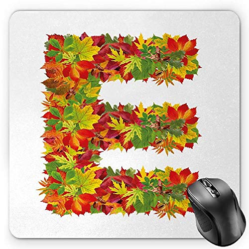 BGLKCS Letter E Mauspads Mouse Pad, Chestnut Maple Leaves Natural Oak Petals Vibrant Colors E Symbol Print, Standard Size Rectangle Non-Slip Rubber Mousepad, Vermilion Yellow Green -