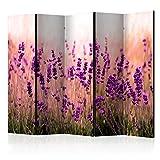 murando - Raumteiler Lavendel Natur Wiese - Foto Paravent 225x172 cm - beidseitig auf Vlies-Leinwand bedruckt - Blickdicht & Textile Haptik - Trennwand - Spanische Wand - Sichtschutz - Raumtrenner - Deko - Design - violett b-B-0111-z-c