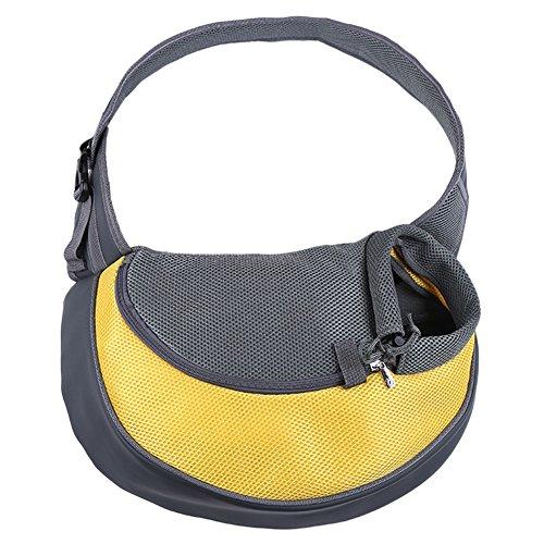 Single-Schulter Haustier Tragetasche Atmungsaktiv Hund Katze Tasche Outdoor Reise Hundetragetasche Schultertasche Gelb Groß